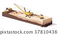 Vector low poly excavators and haul truck 37810436