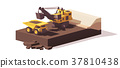 Vector low poly power shovel and haul truck 37810438