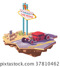Vector low poly classic hot rod car 37810462