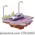 Vector low poly classic Japanese police car 37810464