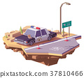 Vector low poly classic American police car 37810466