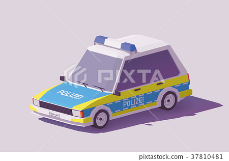 Vector low poly German police car 37810481
