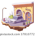Vector low poly car and hotel 37810772