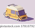 Vector low poly RV camper van 37810792
