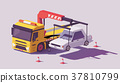 Vector low poly tow truck 37810799