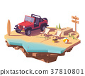 Vector low poly off-road vehicle on the beach 37810801