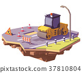Vector low poly road roller 37810804