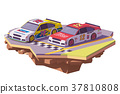 Vector low poly racing cars 37810808