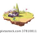 Vector low poly golf cart 37810811