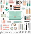 Vector Makeup Cosmetics with Mint Green Handbag 37813125