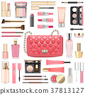 Vector Makeup Cosmetics with Pink Handbag 37813127