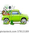 Vector Pickup Truck with Garden Accessories 37813189