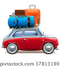 Vector Red Car with Baggage 37813190