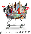 Vector Shopping Cart with Shoes 37813195