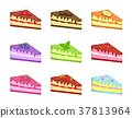 Pieces cake icons set, cartoon style. Cakes of 37813964