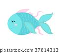 Cute little fish icon, flat, cartoon style 37814313
