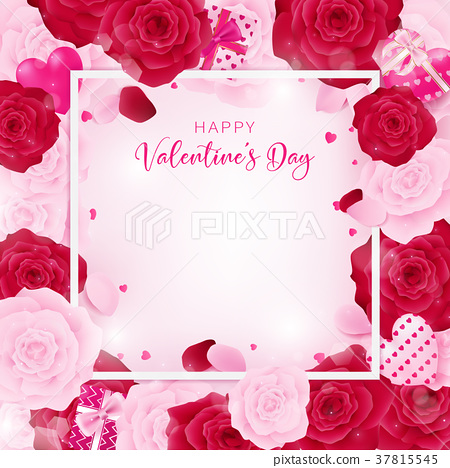 top view love valentine's day square template 37815545