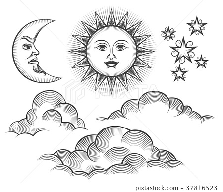Retro engraved moon, sun celestial faces 37816523