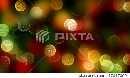 background bokeh of coins bitcoin in gold color 37817000