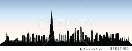 City Dubai skyline. UAE cityscape Urban background 37817496