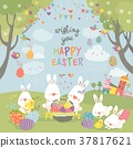 Easter bunnies and easter egg 37817621