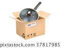 Frypan inside parcel, delivery concept 37817985