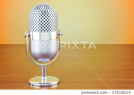 vintage microphone on the wooden table 37818024