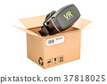 VR glasses inside cardboard box, delivery concept 37818025