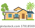 Cute colorful flat style house with tree  37818569