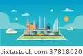 City with map and ocean background vector 37818620