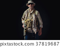 soldier of the American special forces on a black background 37819687