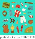 Vector cartoon baseball game player clothes 37820110