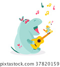 Vector image of a funny hippo playing ukulele 37820159