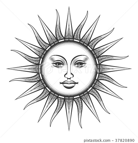 Engraved sun antique face symbol 37820890