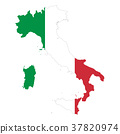 Italy flag in country silhouette 37820974
