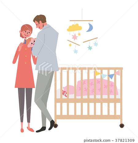 아기를 안고 아버지 일러스트 37821309