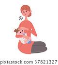 어린이 열 인플루엔자 일러스트 37821327