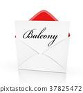 the word balcony on a card 37825472