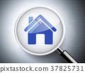 magnifying glass with home icon 37825731