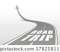 road trip words on highway road 37825811
