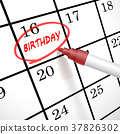 birthday word circle marked on a calendar 37826302