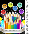 colorful collage style infographic with color pencil 37826357