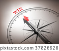 abstract compass needle pointing the word win 37826928