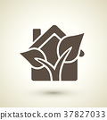 ecology flat icon with house and plant elements 37827033