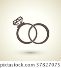 retro style wedding rings icon 37827075