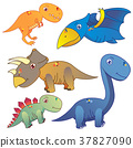 five dinosaurs on white background 37827090