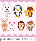 seven animals on pink background 37827111