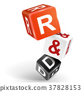 3d dice illustration with word R and D 37828153