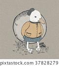 hand drawn retro style cute duck 37828279