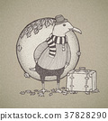 hand drawn retro style traveled seagull 37828290